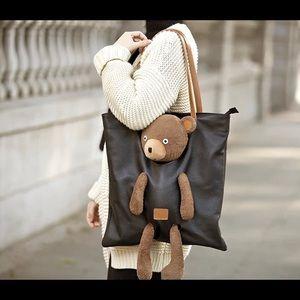 handmade Bags - Italian leather tote with teddy bear